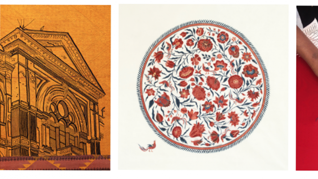 From left to right: Detail of an art work on hand-embroidered Bagh textile, by New York based architect and artist Ghiora Aharoni, 2013; Chintz by Bangalore-based artist Renuka Reddy Hand painted, mordant and resist-dyed cotton. Madder, Indigo, Pomegranate, Fermented iron. 2017; Detail of Red-crowned Cranes, Parsi gaya hand-embroidery on a sari by Ashdeen Lilaowala, Festive Collection, 2014