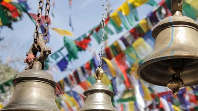Bells and prayer flags-a beautiful merger of cultures