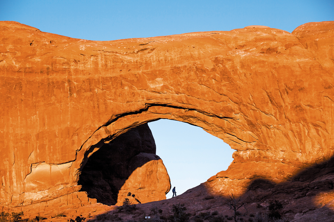 The North Window, one of the treasures at Arches National Park, bathed in late evening light