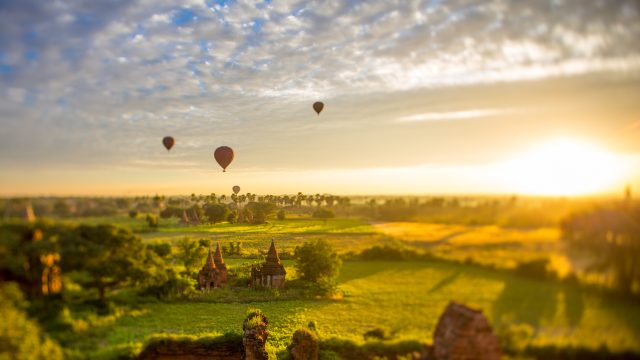 Witness the sunrise over the temples at Bagan in Myanmar