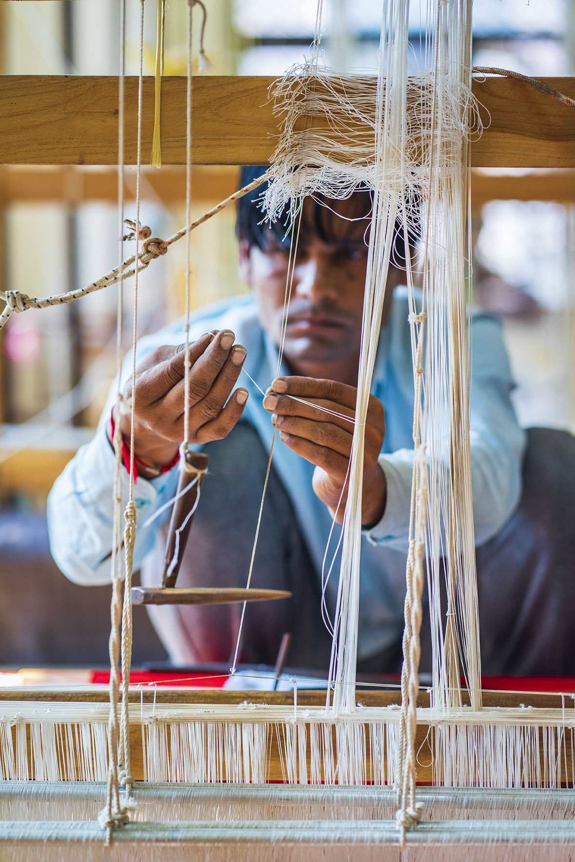 The weaving of Chanderi saris needs a lot of calculations and adjustments