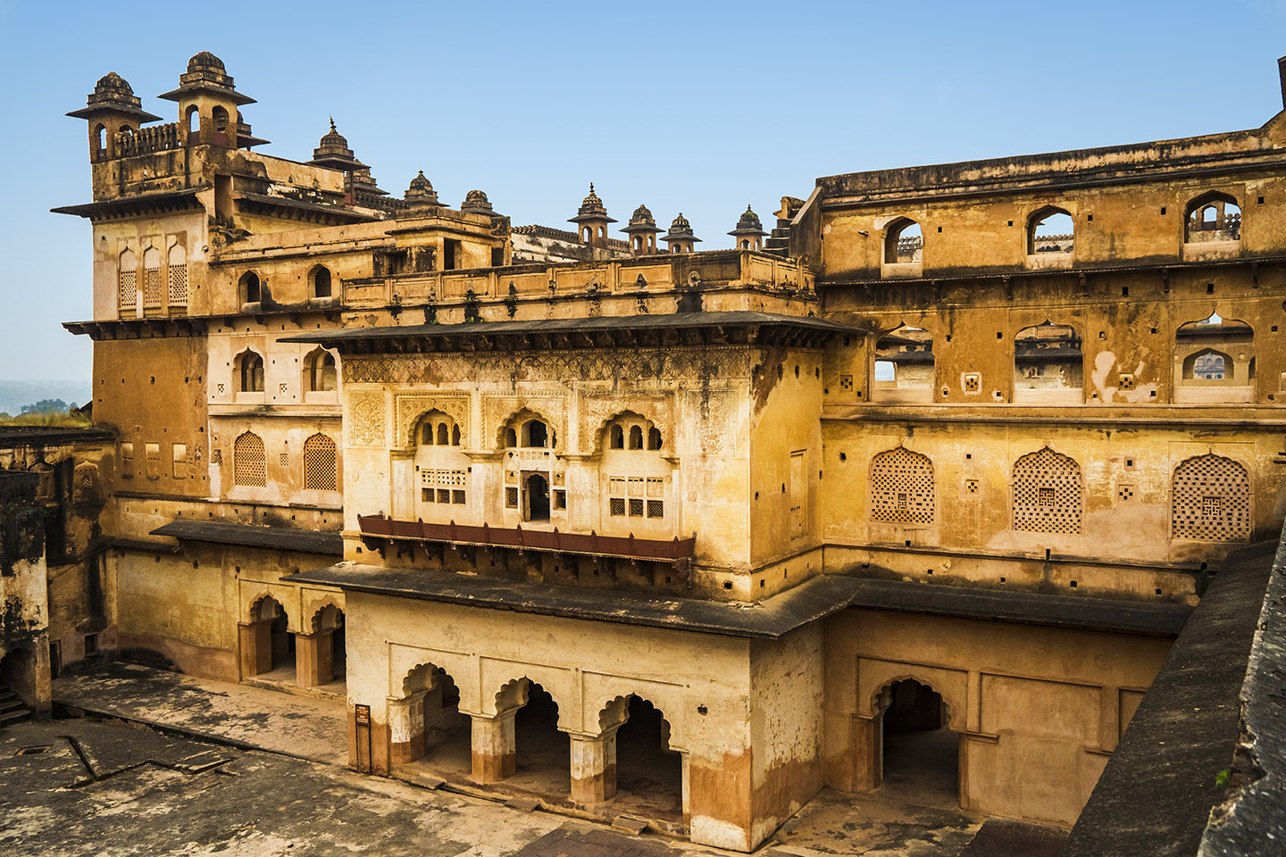 Built in 16th century, the Raja Mahal in Orchha has intricate murals of social and religious themes of gods, mythical animals, and people