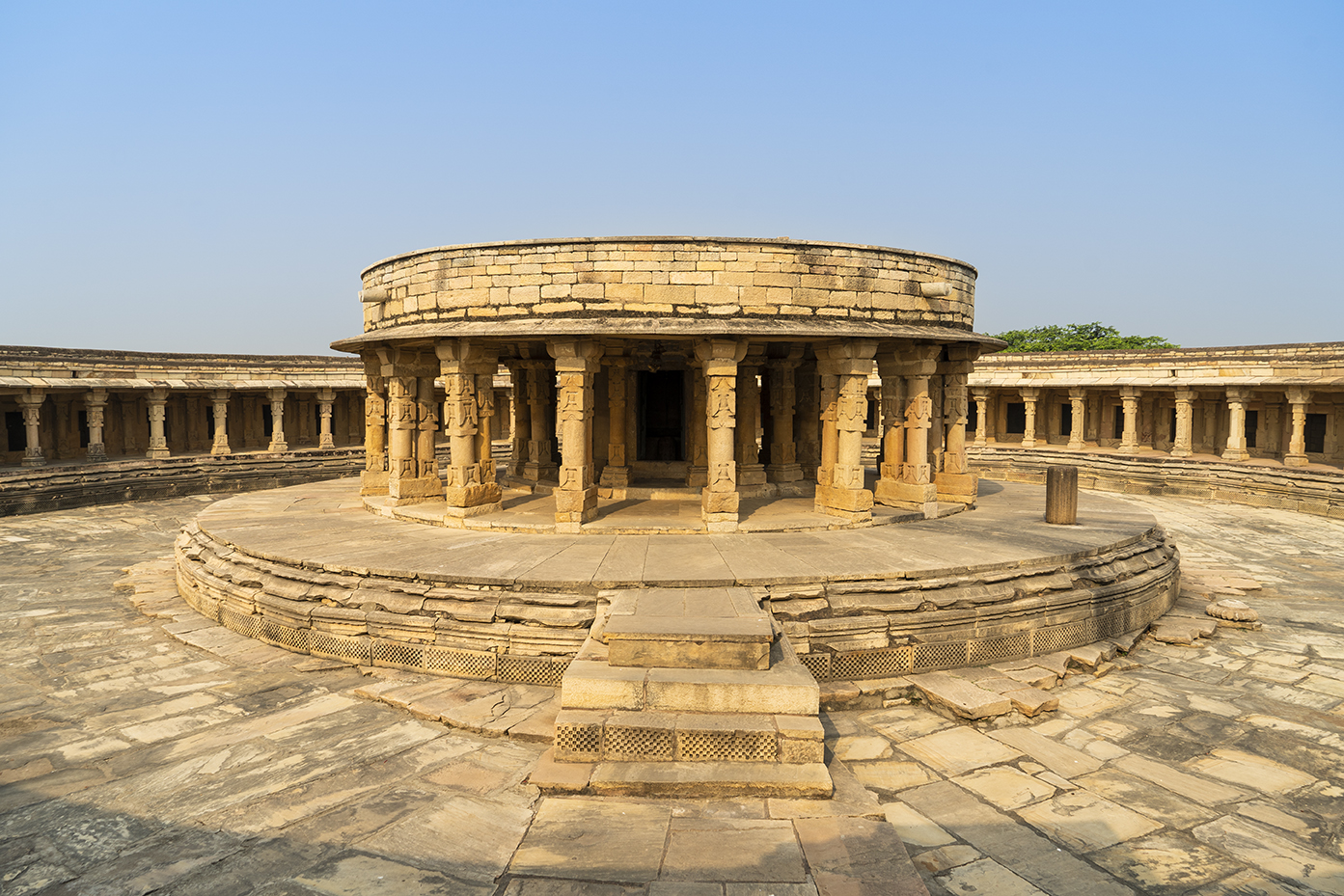 The inner courtyard of Chausath Yogini temple with the central sanatorium dedicated to Shiva
