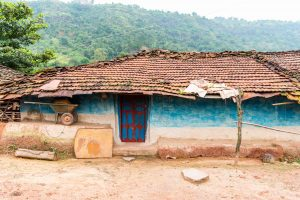 While most of the houses are concrete now; one can still spot a mud house with clay roof tiles in Patalkot