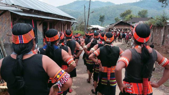 Villagers gather for the Nagaland Spring festival