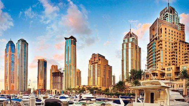Yachts docked at the Dubai Marina