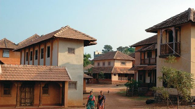 View of the houses at the Hasta Shilpa Heritage Village in Manipal, Karnataka