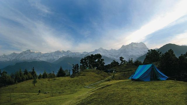 Sunrise at Deoriatal (the Chaukhamba peak is to the right)